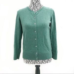 Loft Ann Taylor jewel button green cardigan medium